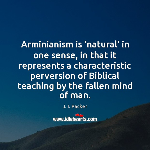 Arminianism is 'natural' in one sense, in that it represents a characteristic J. I. Packer Picture Quote