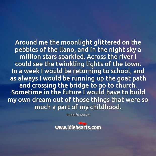 Around me the moonlight glittered on the pebbles of the llano, and Image