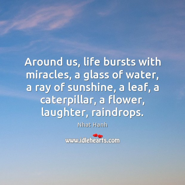 Around us, life bursts with miracles, a glass of water, a ray Image