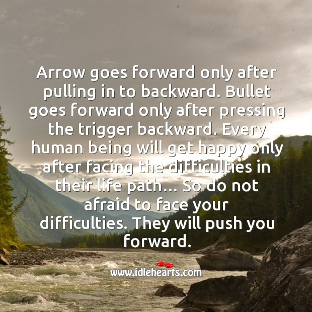 Arrow goes forward only after pulling in to backward. Image