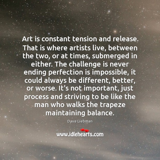 Art is constant tension and release. That is where artists live, between Perfection Quotes Image
