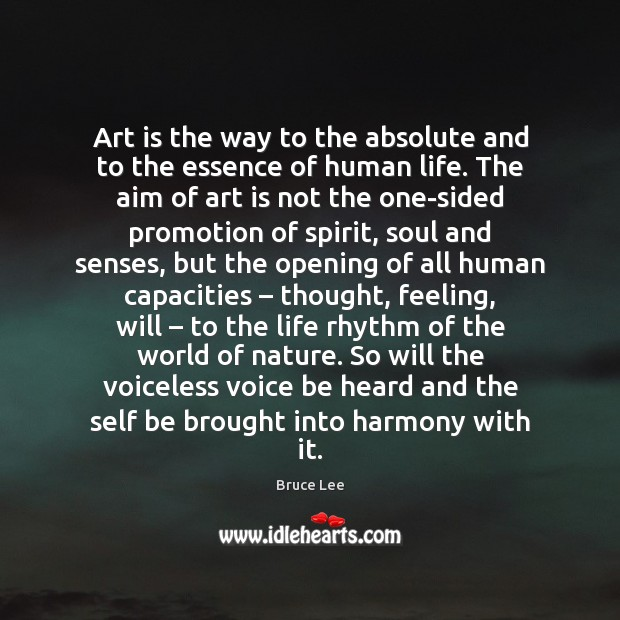 Image, Art is the way to the absolute and to the essence of