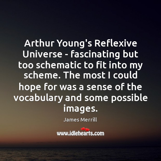 Image, Arthur Young's Reflexive Universe – fascinating but too schematic to fit into