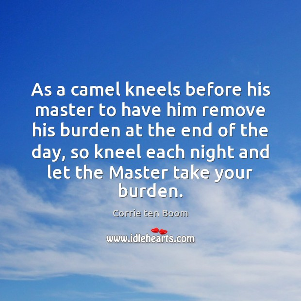Image, As a camel kneels before his master to have him remove his