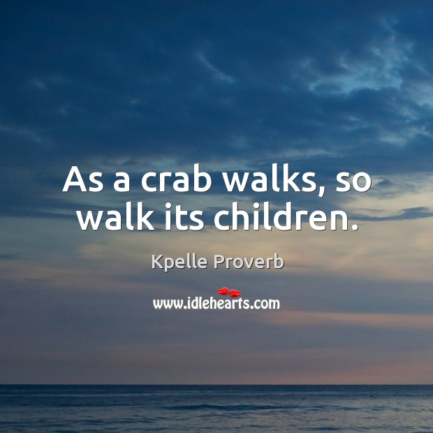 As a crab walks, so walk its children. Kpelle Proverbs Image