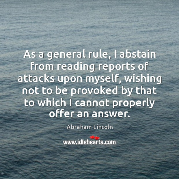 Image, As a general rule, I abstain from reading reports of attacks upon