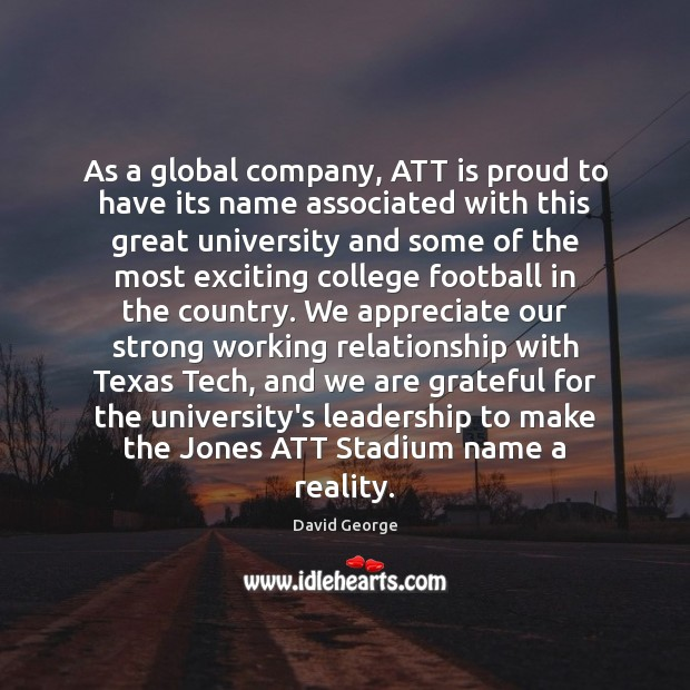 As a global company, ATT is proud to have its name associated Image