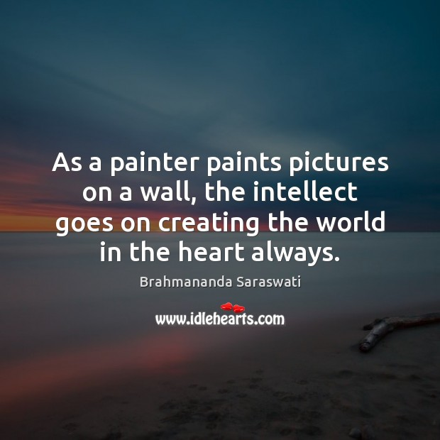 Image, As a painter paints pictures on a wall, the intellect goes on