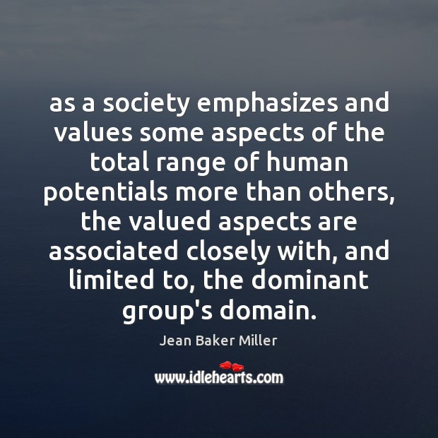 As a society emphasizes and values some aspects of the total range Image