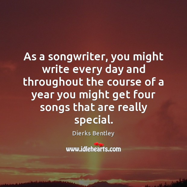 As a songwriter, you might write every day and throughout the course Image