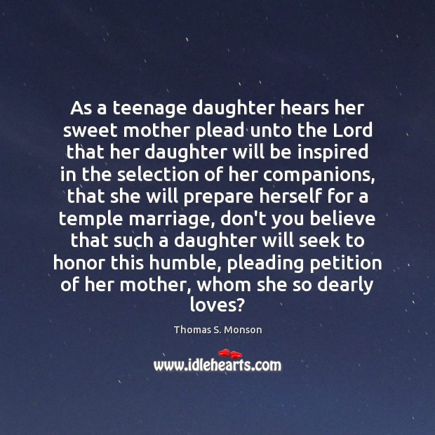 As a teenage daughter hears her sweet mother plead unto the Lord Image
