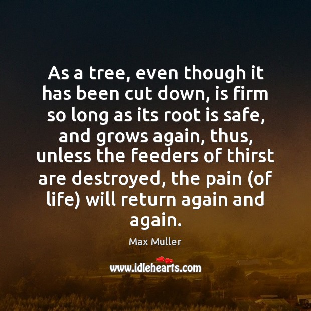 As a tree, even though it has been cut down, is firm Max Muller Picture Quote
