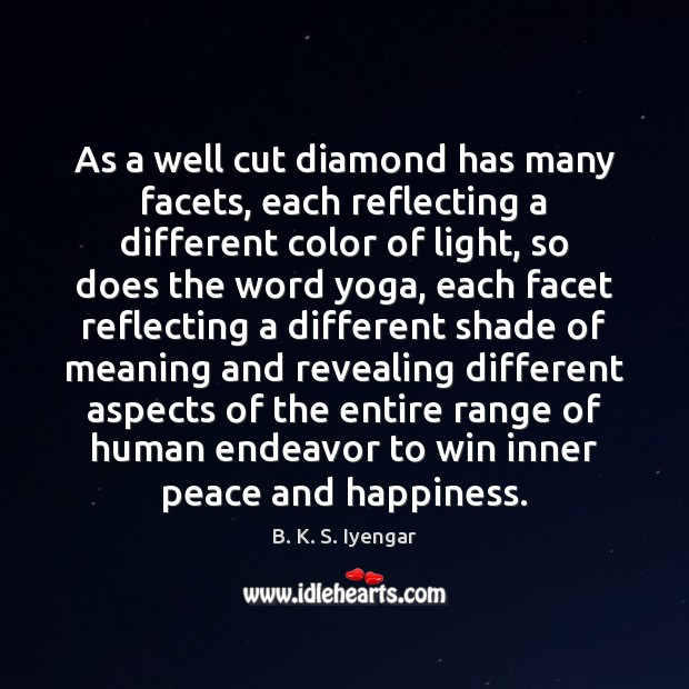 As a well cut diamond has many facets, each reflecting a different B. K. S. Iyengar Picture Quote