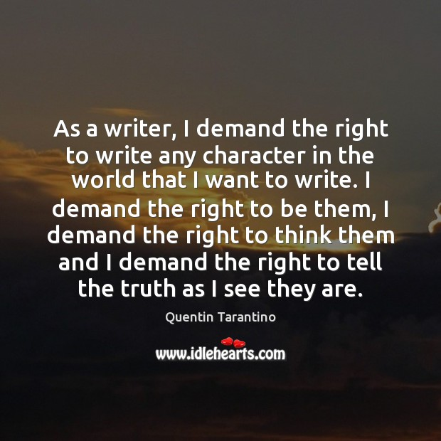 As a writer, I demand the right to write any character in Image