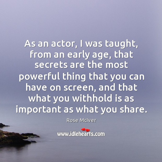 As an actor, I was taught, from an early age, that secrets Image