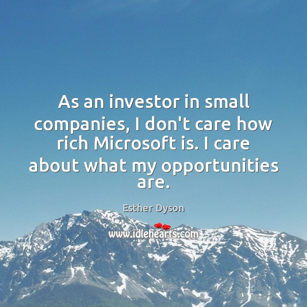 As an investor in small companies, I don't care how rich Microsoft Esther Dyson Picture Quote