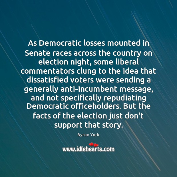 As Democratic losses mounted in Senate races across the country on election Image
