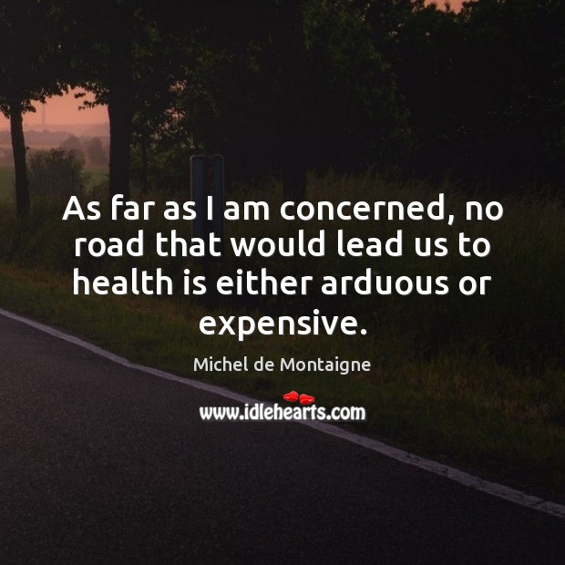 As far as I am concerned, no road that would lead us Michel de Montaigne Picture Quote