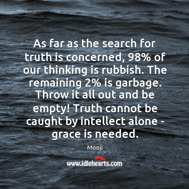 As far as the search for truth is concerned, 98% of our thinking Image