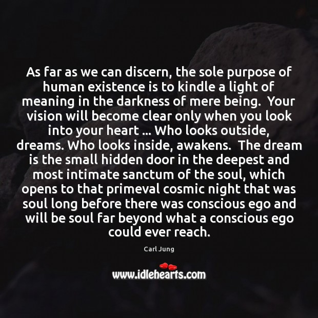 As far as we can discern, the sole purpose of human existence Image