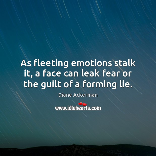 As fleeting emotions stalk it, a face can leak fear or the guilt of a forming lie. Image