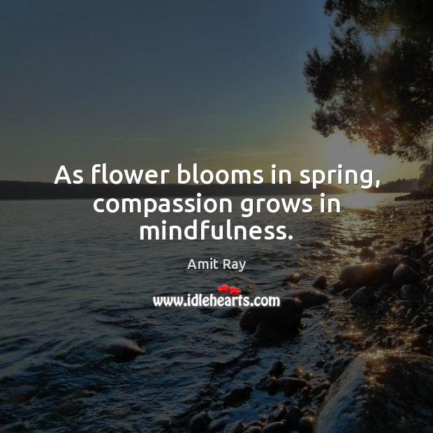 Image, As flower blooms in spring, compassion grows in mindfulness.