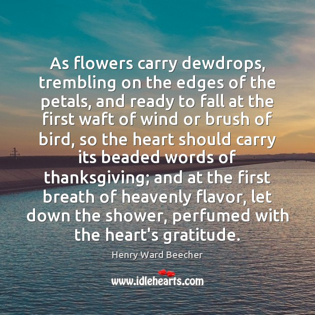 As flowers carry dewdrops, trembling on the edges of the petals, and Thanksgiving Quotes Image