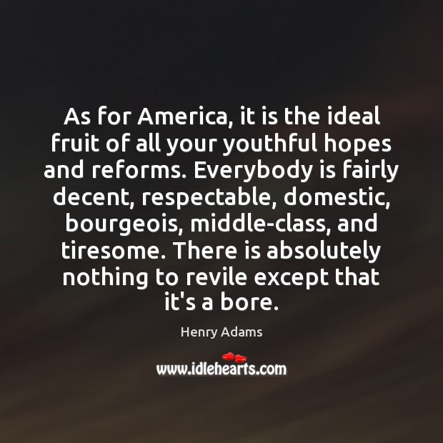 As for America, it is the ideal fruit of all your youthful Henry Adams Picture Quote