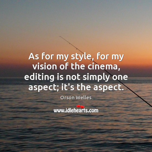 As for my style, for my vision of the cinema, editing is Orson Welles Picture Quote