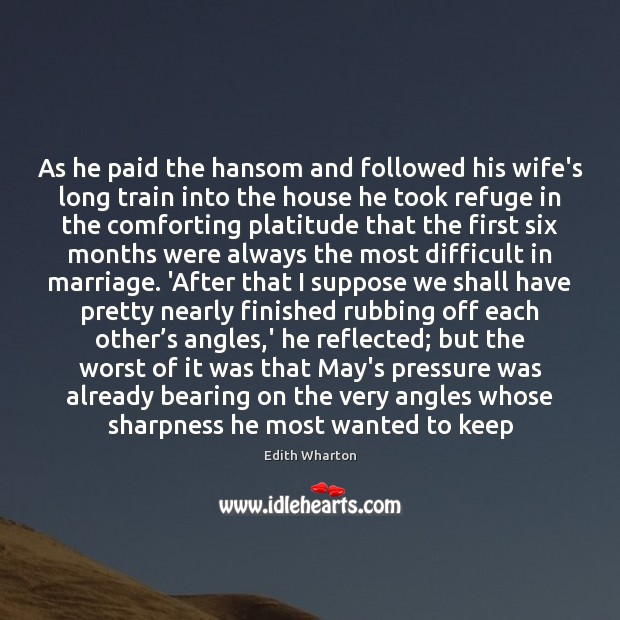 As he paid the hansom and followed his wife's long train into Image