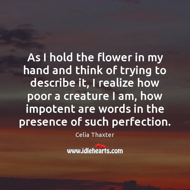 As I hold the flower in my hand and think of trying Image