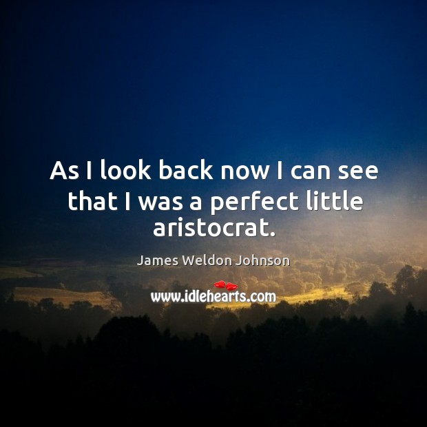 As I look back now I can see that I was a perfect little aristocrat. James Weldon Johnson Picture Quote