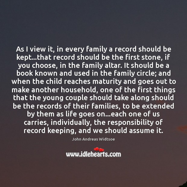 As I view it, in every family a record should be kept… Image