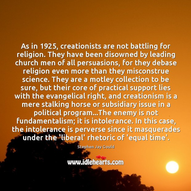 As in 1925, creationists are not battling for religion. They have been disowned Image