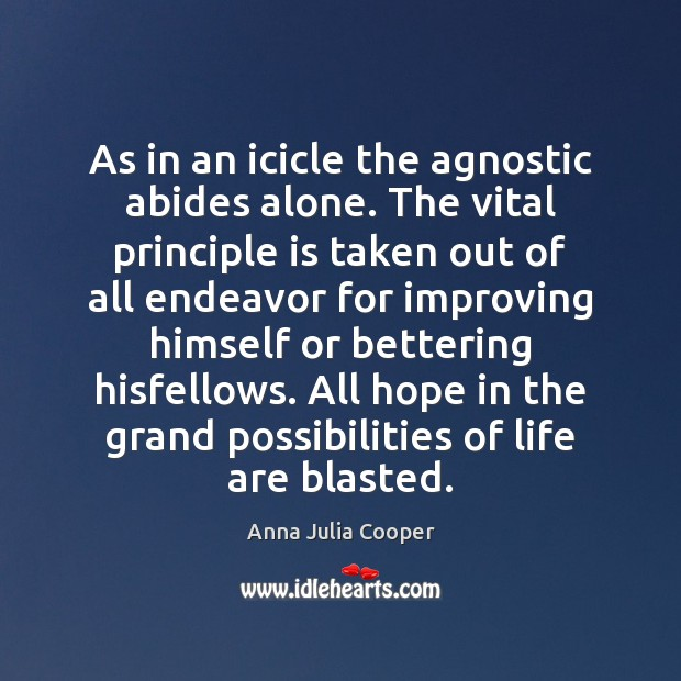 Image, As in an icicle the agnostic abides alone. The vital principle is