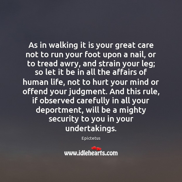 Image, As in walking it is your great care not to run your