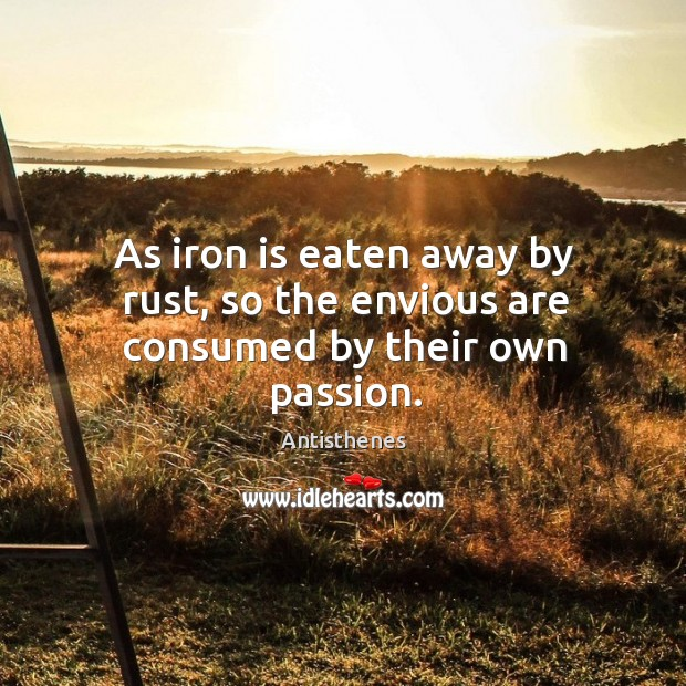 Image, As iron is eaten away by rust, so the envious are consumed by their own passion.