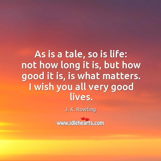 As is a tale, so is life: not how long it is, Image