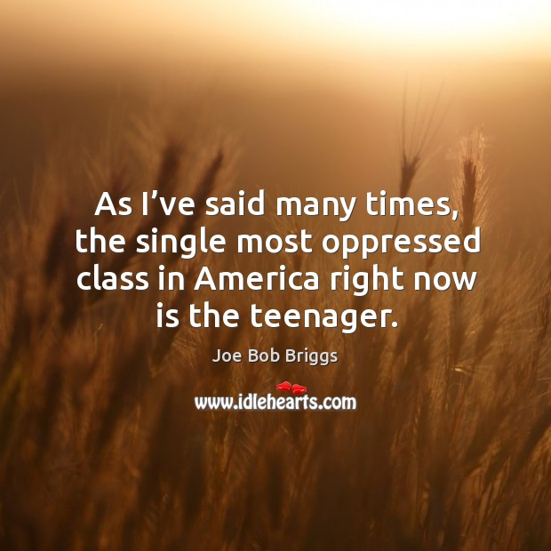 As I've said many times, the single most oppressed class in america right now is the teenager. Image