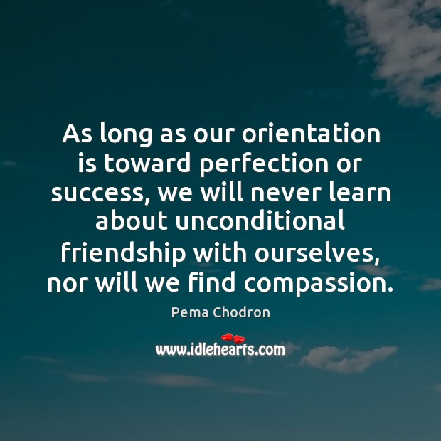 As long as our orientation is toward perfection or success, we will Image