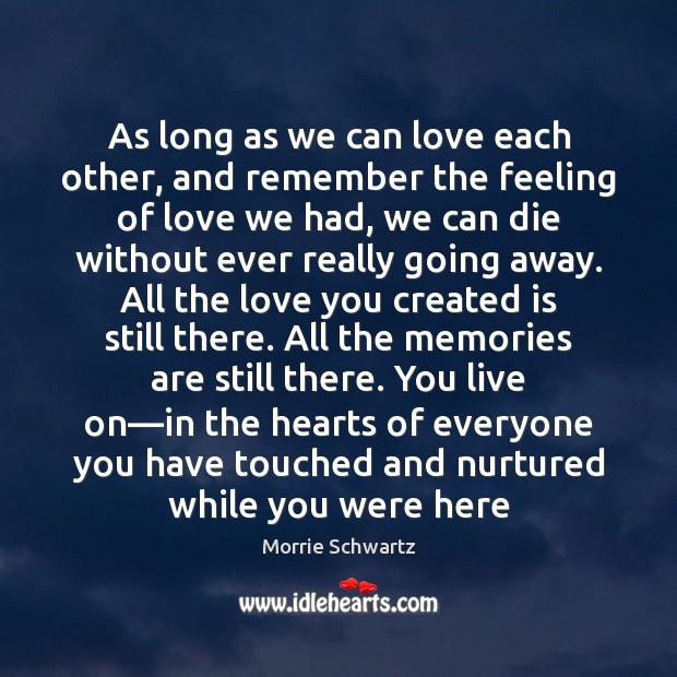 As long as we can love each other, and remember the feeling Morrie Schwartz Picture Quote