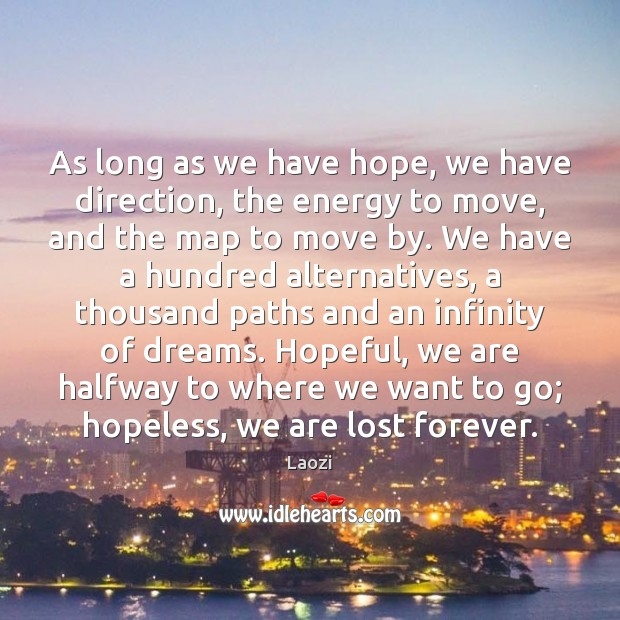 Image about As long as we have hope, we have direction, the energy to