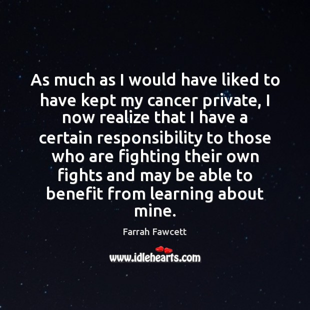 As much as I would have liked to have kept my cancer Image