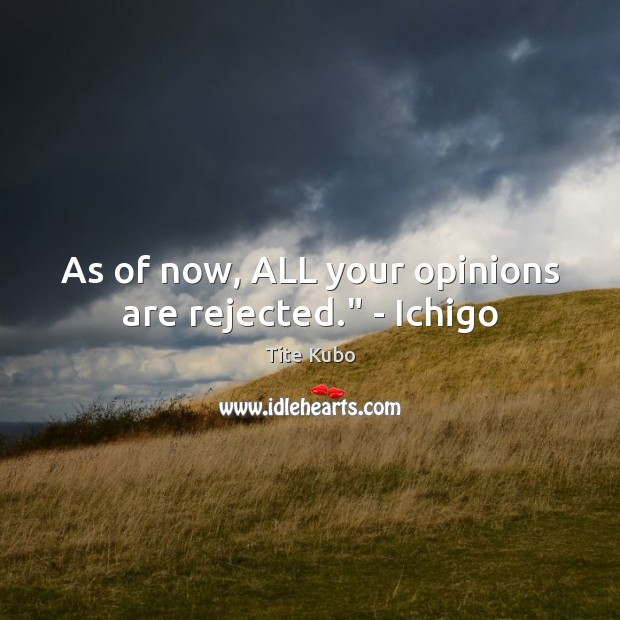 """Image, As of now, ALL your opinions are rejected."""" – Ichigo"""