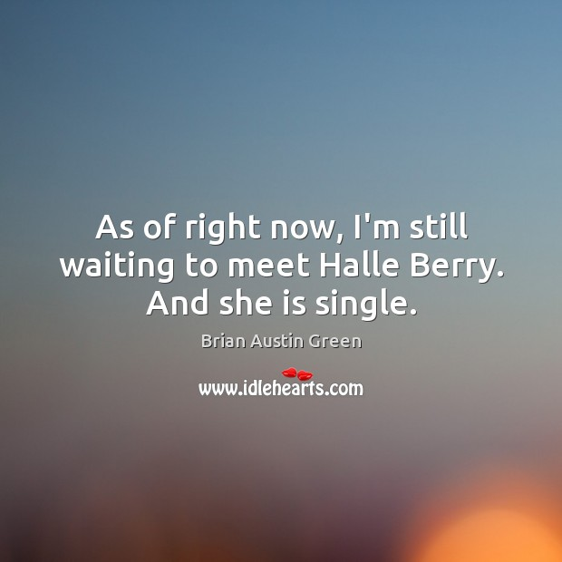 As of right now, I'm still waiting to meet Halle Berry. And she is single. Brian Austin Green Picture Quote