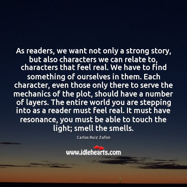 Image, As readers, we want not only a strong story, but also characters