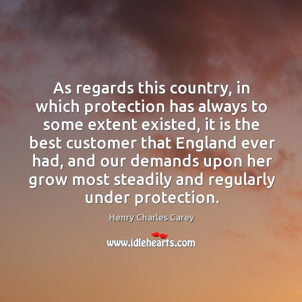 As regards this country, in which protection has always to some extent existed Henry Charles Carey Picture Quote