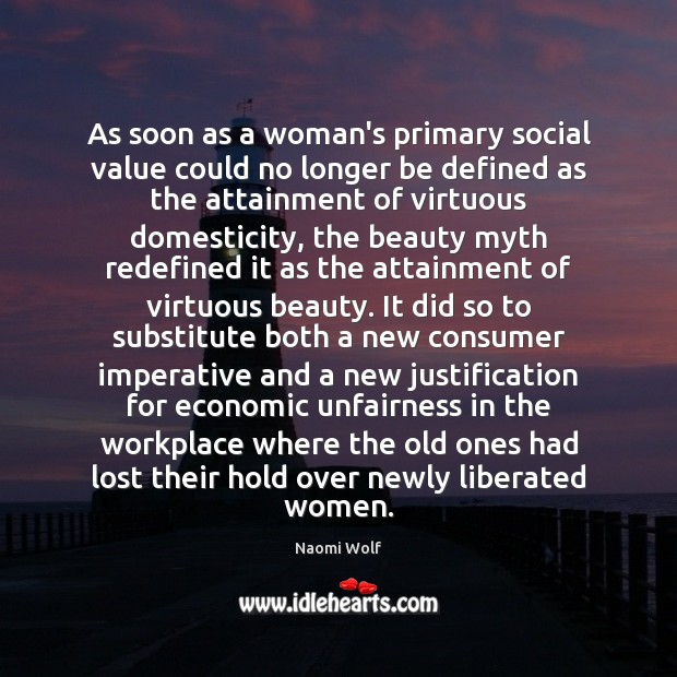 Image, As soon as a woman's primary social value could no longer be