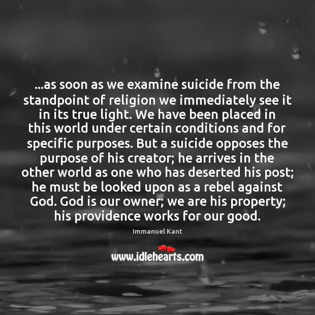 Image, …as soon as we examine suicide from the standpoint of religion we