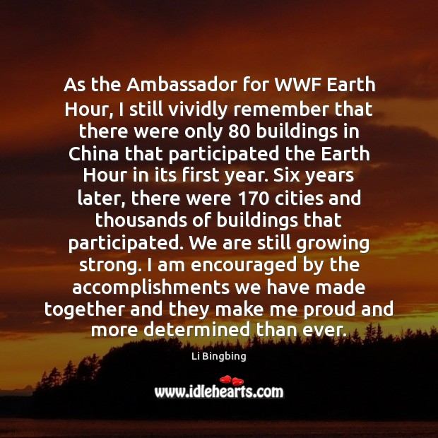 As the Ambassador for WWF Earth Hour, I still vividly remember that Image